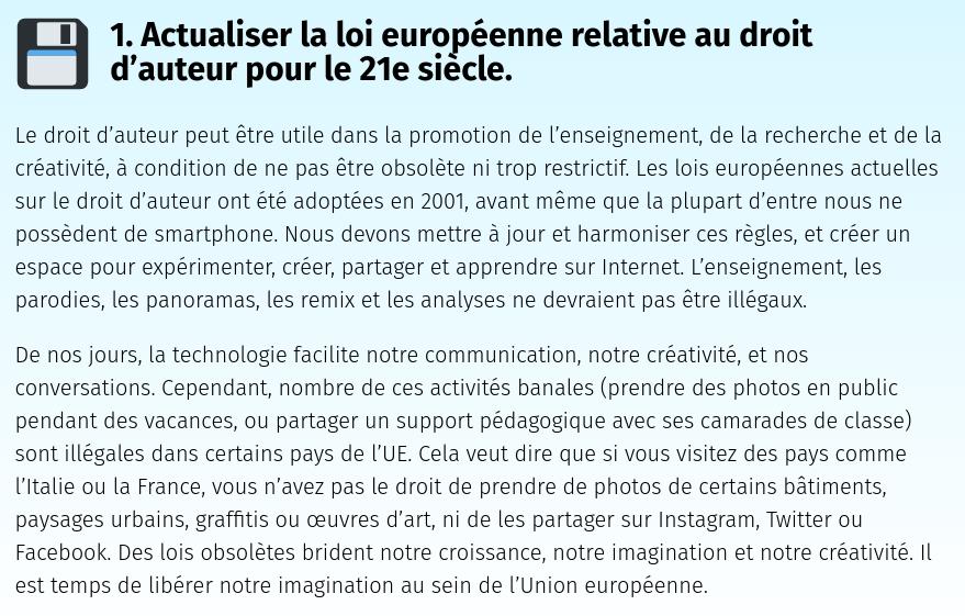 1. Actualiser la loi européenne relative au droit d'auteur pour le 21e siècle.
