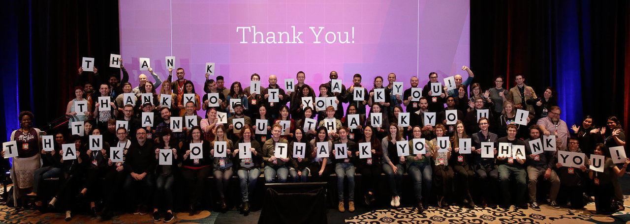 Employés de Mozilla avec plaquettes Thank You!
